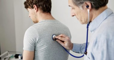 listening for fine crackles or velcro-like sounds/pulmonaryfibrosisnews.com/lung exam with stethoscope