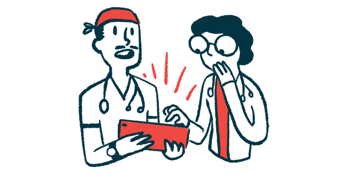 hospitalizations linked to higher mortality rate/Pulmonary Fibrosis News/two doctors with tablet illustration