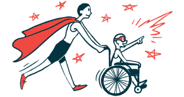 rare disease clinical trial participants | Pulmonary Fibrosis News | Illustration of woman in cape pushing child in wheelchair