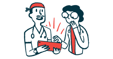 Envisia Genomic Classifier can help diagnose IPF/Pulmonary Fibrosis News/two doctors with tablet consulting illustration